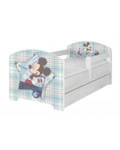 Disney Mickey egeres Ágy 140 X 70 leesésgátlós AJÁNDÉK MATRACCAL, ágyneműtartóval