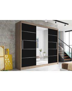 Firenze250 tolóajtós, tükrös, gardróbszekrény tölgy-fekete