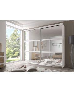 Firenze203 M10 tolóajtós, tükrös, gardróbszekrény fehér